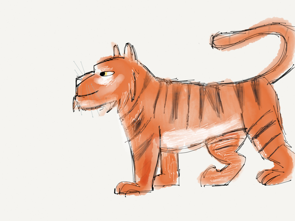 Tiger dev sketch. Most of these character sketches were done on my iPad.