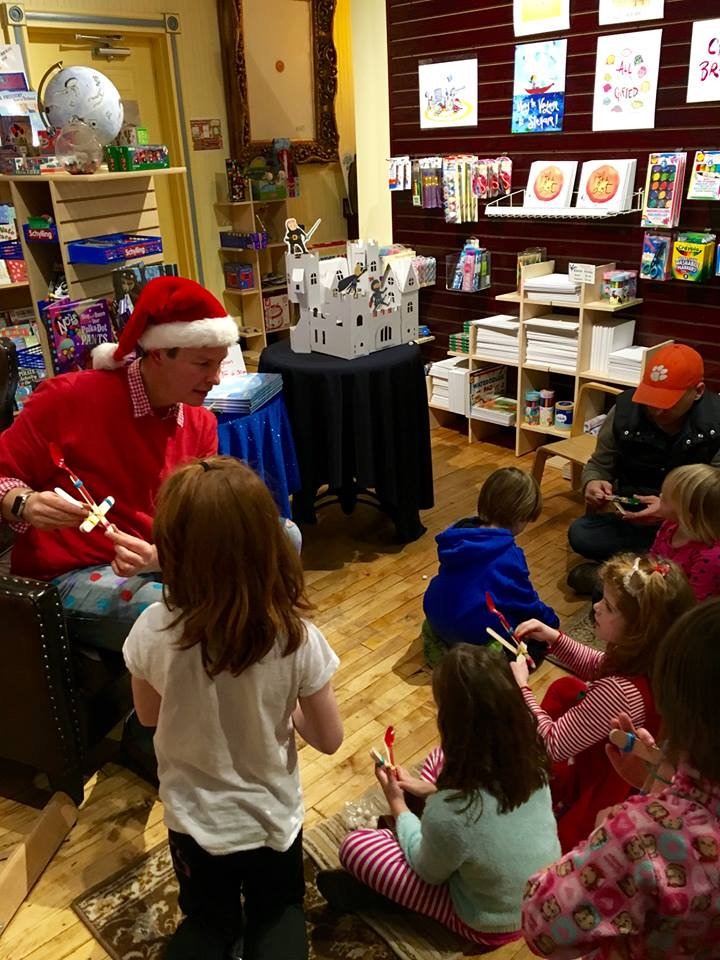 Making marshmallow catapults at  Blue Bunny  bookstore visit.