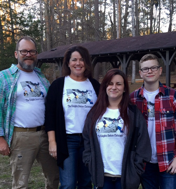 Here are the real Knights before Christmas! The Knight Family created these t-shirts for their family reunion/Christmas party.