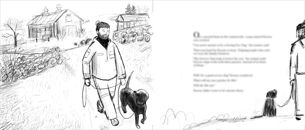 Rescue and his NEADs trainer. I really wanted to begin the book in early Spring in the country so that as the book went along we'd see the visual contrast and change from Spring in the country to Summer in the city.