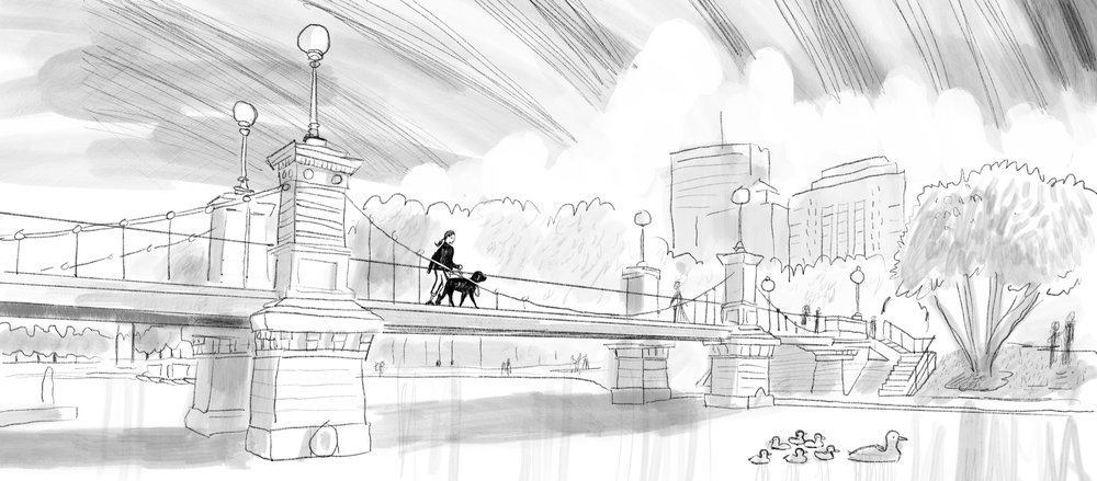 For the last scene of the book I knew I wanted to have Rescue and Jessica walking off into the sunset together. The Boston Public Garden (note: not the Common!) bridge runs in an east-west direction and so I knew I had to set my scene there. The Public Garden has such a proud tradition in KidLit with Robert McCloskey's Make Way for Ducklings I felt that this spot was a perfect match. I even included some ducklings swimming with a mama duck.