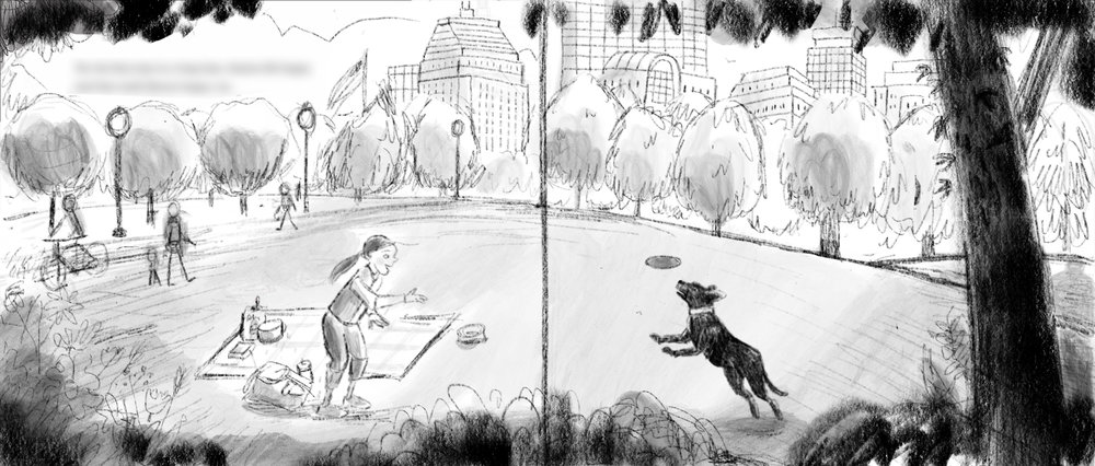 A slightly more refined Boston setting concept sketch. It was important to add a little poetry to my drawings—the first sketch was quite a literal (if sketchy) depiction of Boston Common. This one has got a curved hill, simpler trees and skyline and more abstract characters. My AD Ann Stott was instrumental in getting me to where I need to be stylistically. Thank you Ann Stott!