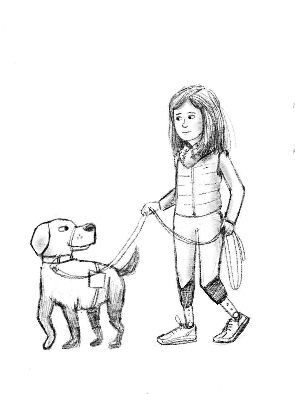An early concept drawing of Jessica and Rescue. In later drawings I was sure to put Rescue  next  to Jessica rather than leading her as service dogs do. Its seeing eye dogs that walk in front of their human counterparts.