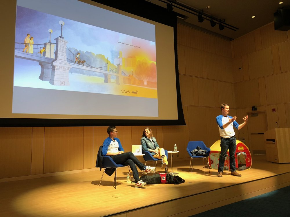 Speaking about our book at the launch party at the Boston Public Library on April 5.