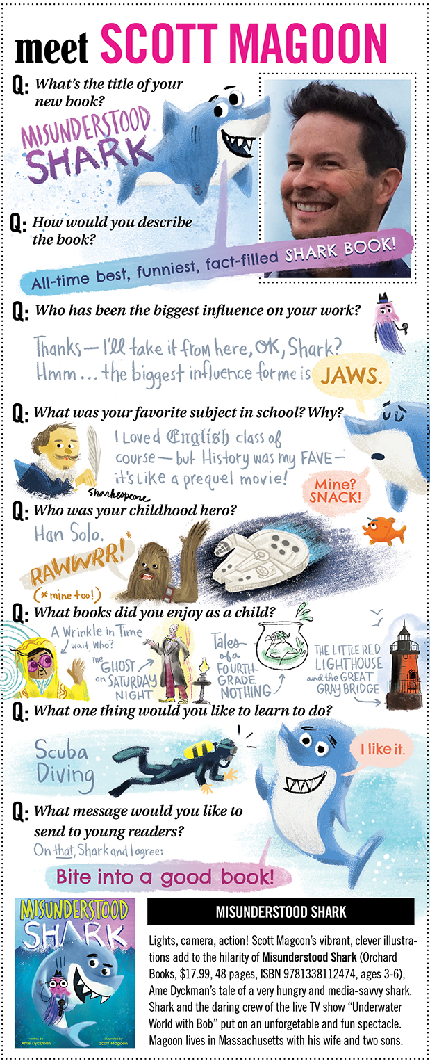 BookPage Interview - After years of reading and enjoying these illustrated and handwritten interviews on Book Page I finally got my chance to do one of my own for SHARK. Check it out!