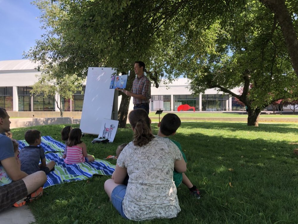 It was so great to be outside enjoying the day and books with readers! Photo courtesy David Feinstein.