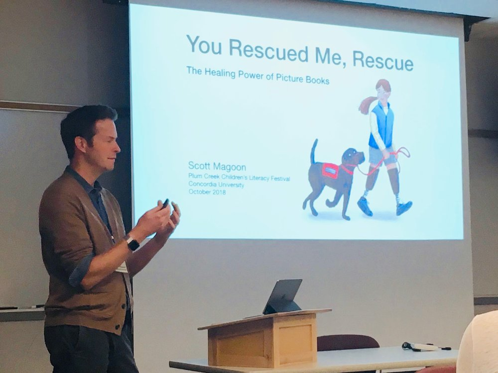Here I am speaking about the healing power of picture books and how RESCUE & JESSICA help me and the authors move on and find meaning in the wake of the marathon bombing. This photo was taken in Seward Nebraska by Ms. Rachel Harder at the  Plum Creek Literacy Festival .