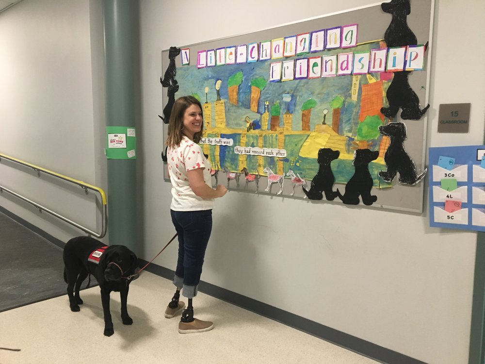 Here Jessica takes a look at a beautiful RESCUE & JESSICA bulletin board decorated by students.