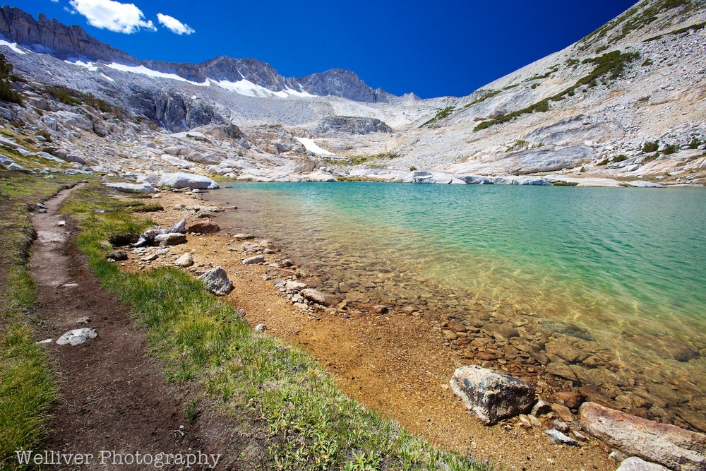 Twenty Lakes Basin, Hoover Wilderness: Trail beside Conness Lake by Beth.