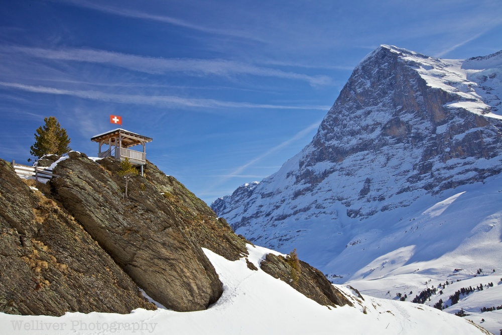 Switzerland: Hut and Eiger by Terry.