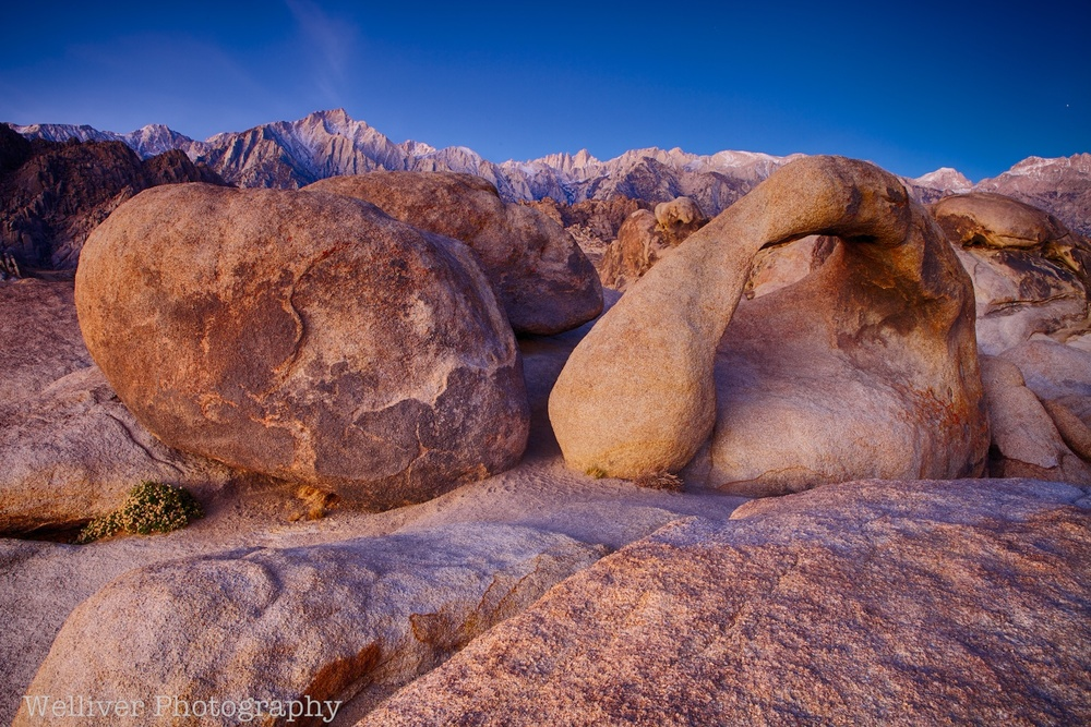 Alabama Hills: Mobius Arch, Rock, and Sierra Crest by Beth.
