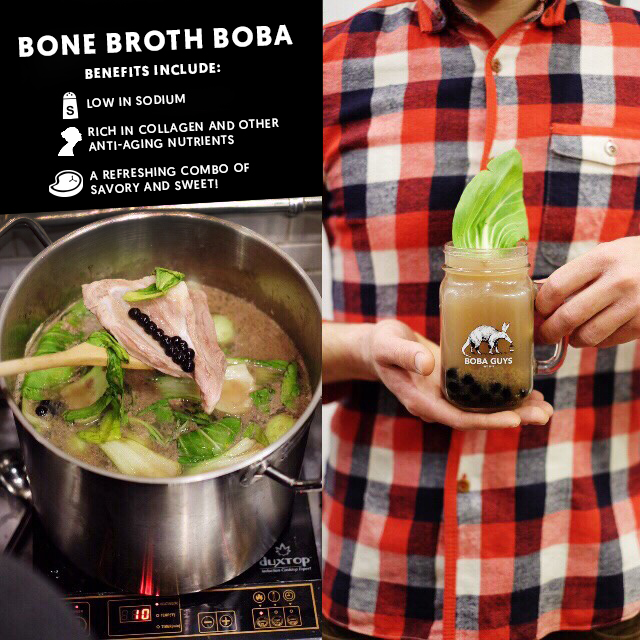 "Hi guys, it's all the rage in SF and New York, so we cooked up another ground-breaking drink. Introducing.... #BoneBrothBoba ! We've tailored it around the ""3 Bs"": boba, bone broth and bok choy. If you're looking for something savory and anti-aging, give it a try and let us know what you think!"