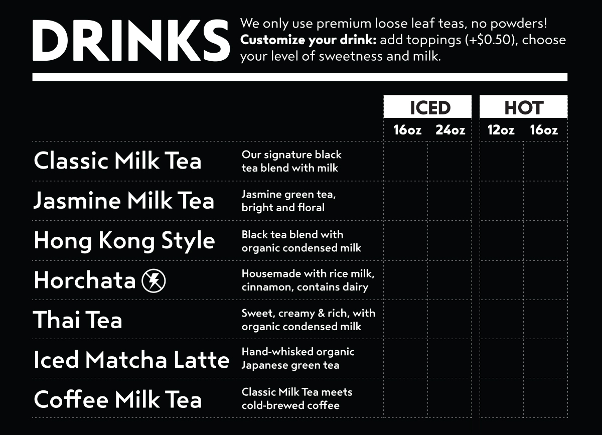 370ce43a5 Menu — Boba Guys - Serving the highest quality bubble milk tea in ...