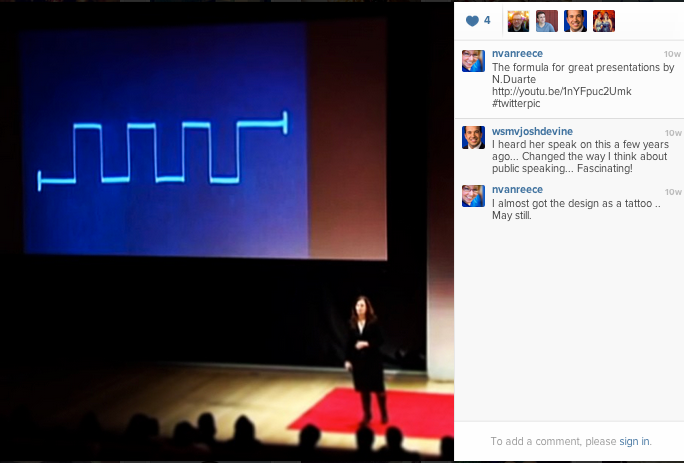 The formula for great presentations by N. Duarte. See her TED talk by clicking here.