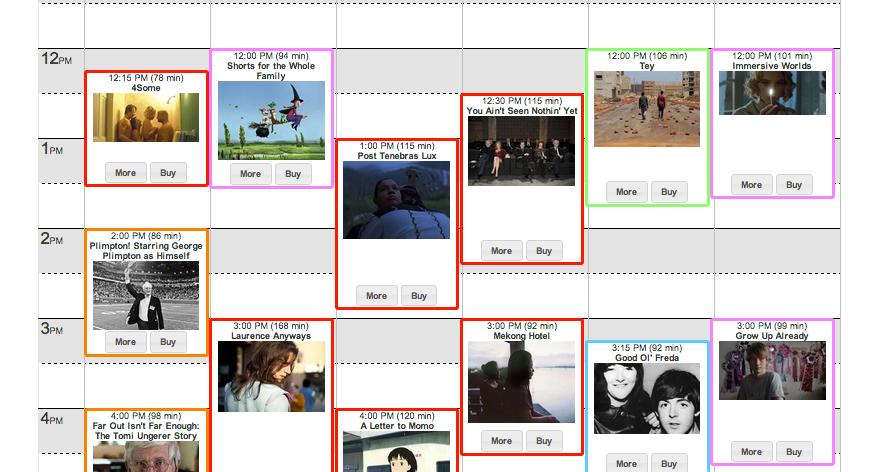 film festival calendar grid