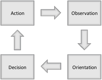 The simplified conception of the OODA loop (Osinga, 2007).