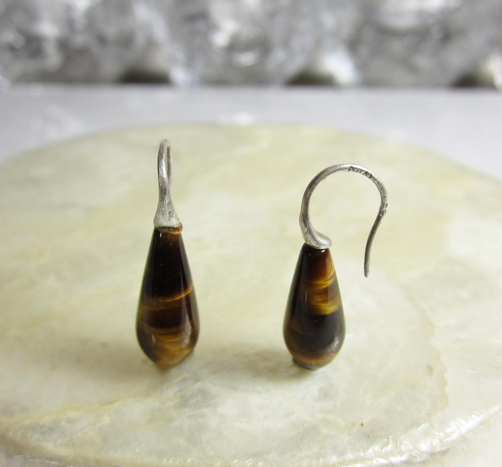 Sterling Silver and Tigers Eye Earrings