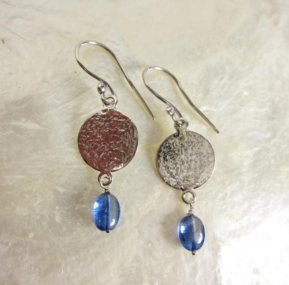 Sterling Silver and Kyanite Disk Earrings