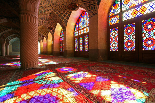 Inside Nasir el Molk Mosque in Shiraz, Iran