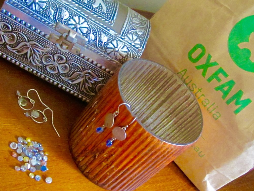 Fair trade:  It's not always about you.  Think of others, too!  Artisan glass candle holders, handcrafted metal box from Oxfam. VIX Jewellery pieces made from ethically sourced beads and stones and recycled silver.  Hand cut Indian diamonds sourced from ethical dealers.