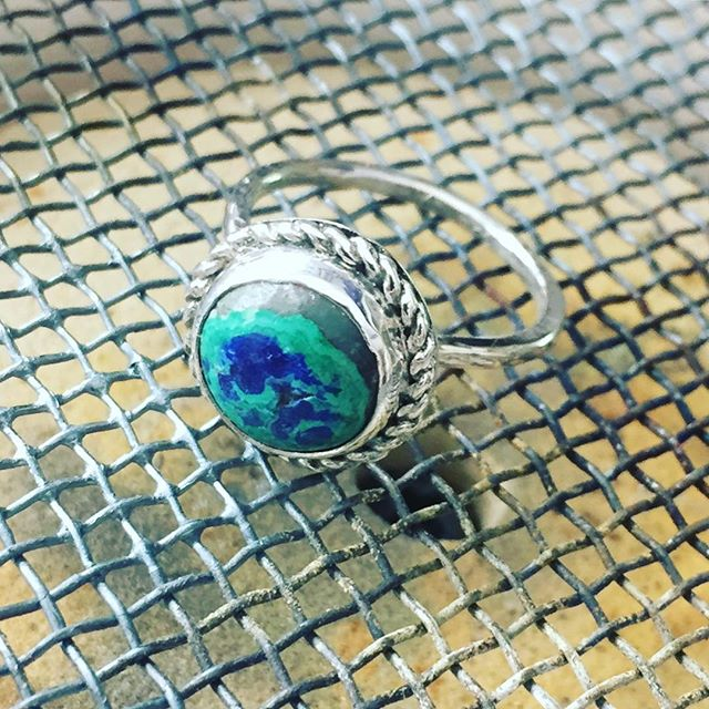 Blue and green should always be seen!  Azurite and silver in a simple bezel ring.