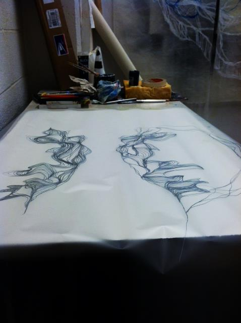 "drawing on mylar...in progress  ""divided hemispheres"""