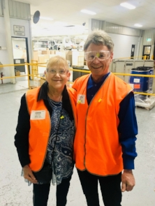Yvonne Collier & Dean Collier   All geared up for good work practice in the factory environment.