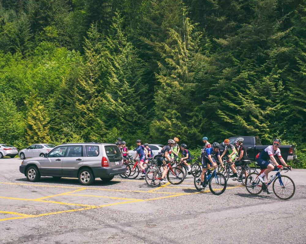 The group had been thinned out savagely by the time it hit the fourth summit, Grouse Mtn. parking lot.