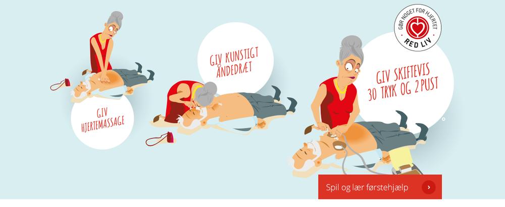 På Hjerteforeningen.dk kan du bl.a. lære at give hjertemassage ved at spille et førstehjælps-spil