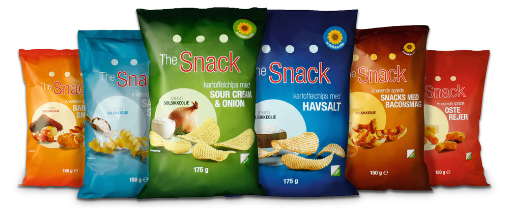 Emballagedesign for The Snack. Copyright: Nørgård Mikkelsen