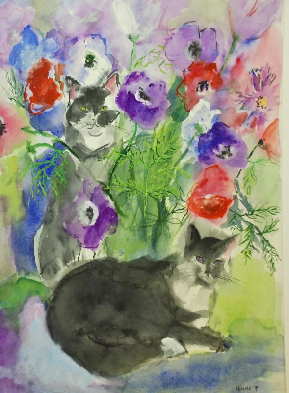 Cats and Anemones by Kitty Herrick