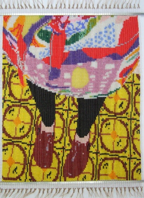 Miss Mardi, Marimekko and Birkenstocks on Linoleum by Peggy Dembecier