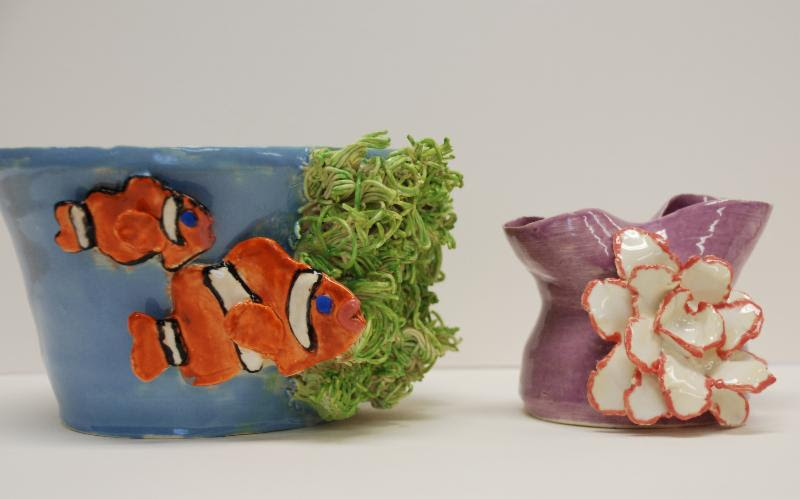 Clownfish Bowl and Floral Vase by Maddy Hoffman