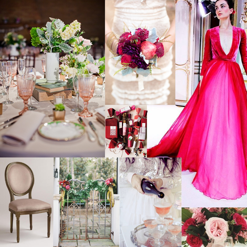 pink glass & books, pomegranate bouquet, miss america gown, garden roses, pink champ, gate swag, world market chair, poppers