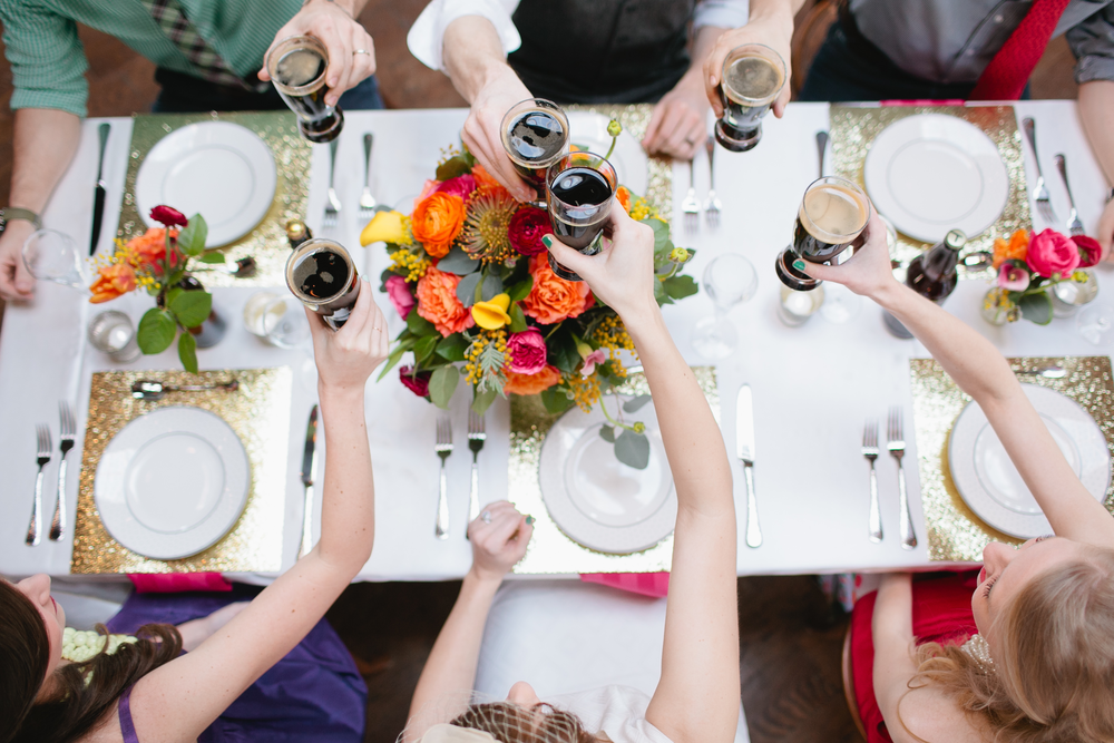 Cheers to a  rousing group of partygoers ! (Taken from KDE Styled shoot with Morgan Trinker.)