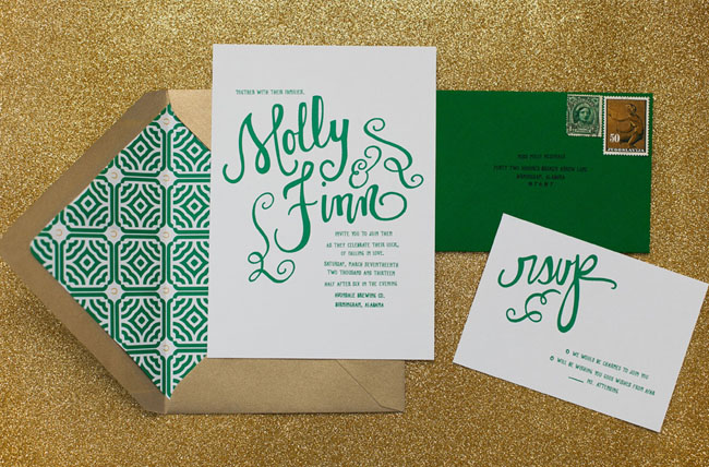 Kelly Dellinger Events emerald invitation suite