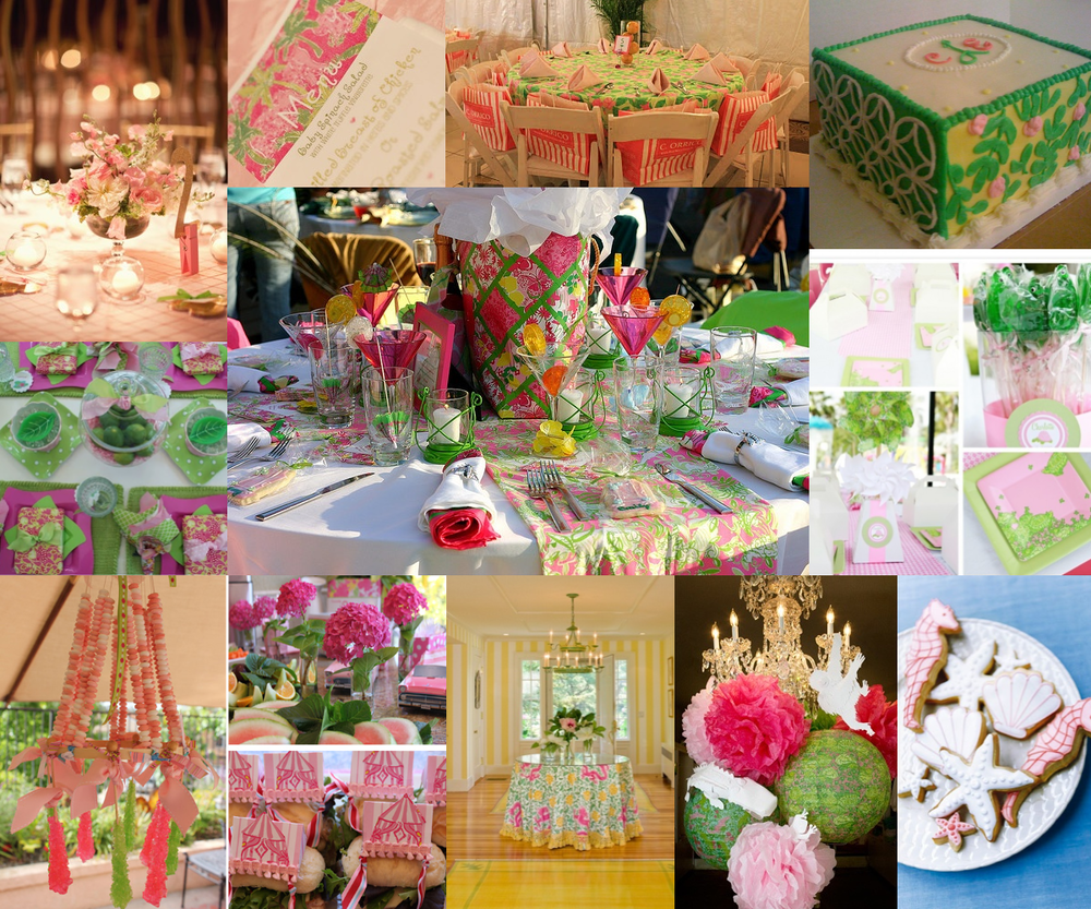 from top left, clockwise:  pale pink pintuck linen & lilly menu, striped bag chair favors, lilly print cake, pastel turtle print party, sea creature cookies, tissue paper pom chandelier, yellow striped walls, lilly circus party with candy chandelier, citrus centerpiece, brightly colored tablescape.