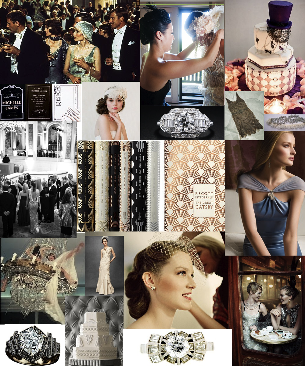 Credits, from top left, clockwise:   movie scene ,  gatsby headdress ,  themed cake ,  rhinestone garter ,  blue gown ,  train ,  deco ring , white cake ,  platinum ring ,  swinging from the chandelier ,  opera party ,  paper goods ,  headpiece ,  diamonds ,  beaded flapper dress ,  fitzgerald books ,  birdcage bride ,  bhldn frock .