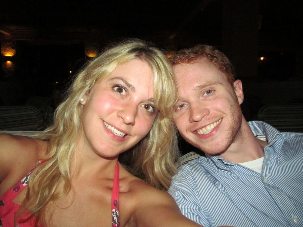 Our honeymoon a year ago -- how long my hair was back then!