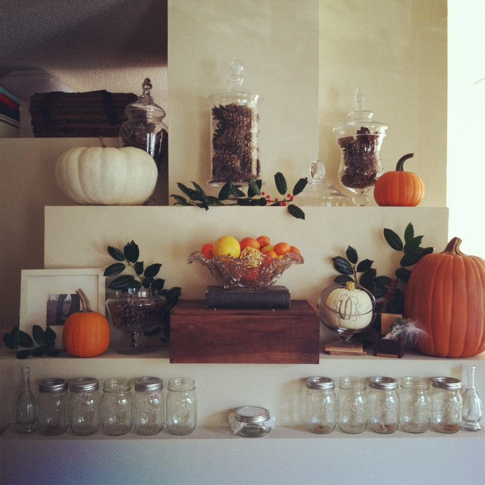 Our Thanksgiving mantle last year!
