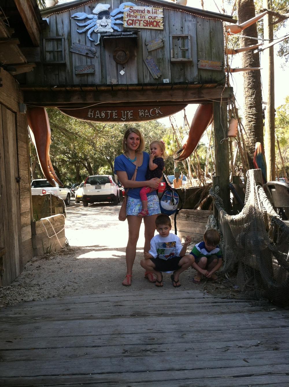 Me & the nephews/niece outside the bird shack!