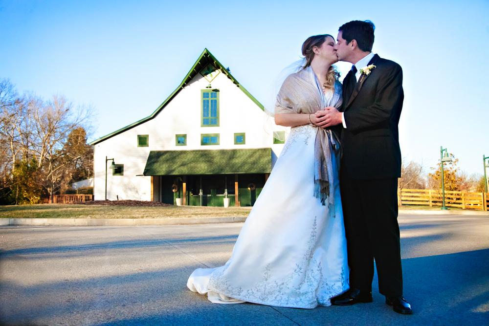 winter wedding couple loveless barn