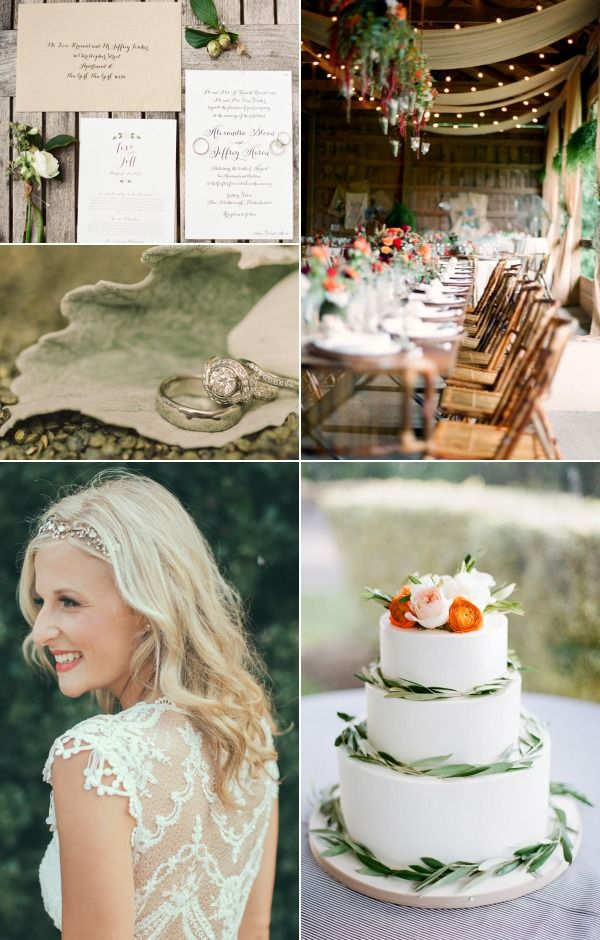 Top left, clockwise:   suite ,  reception ,  cake ,  gown ,  rings .