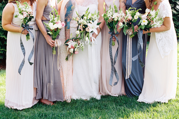 muted colored bridesmaids