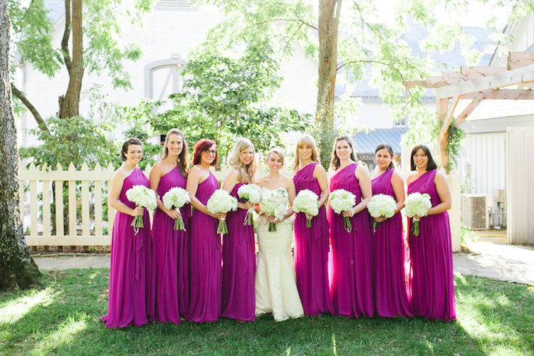 bride and fuchsia bridesmaids
