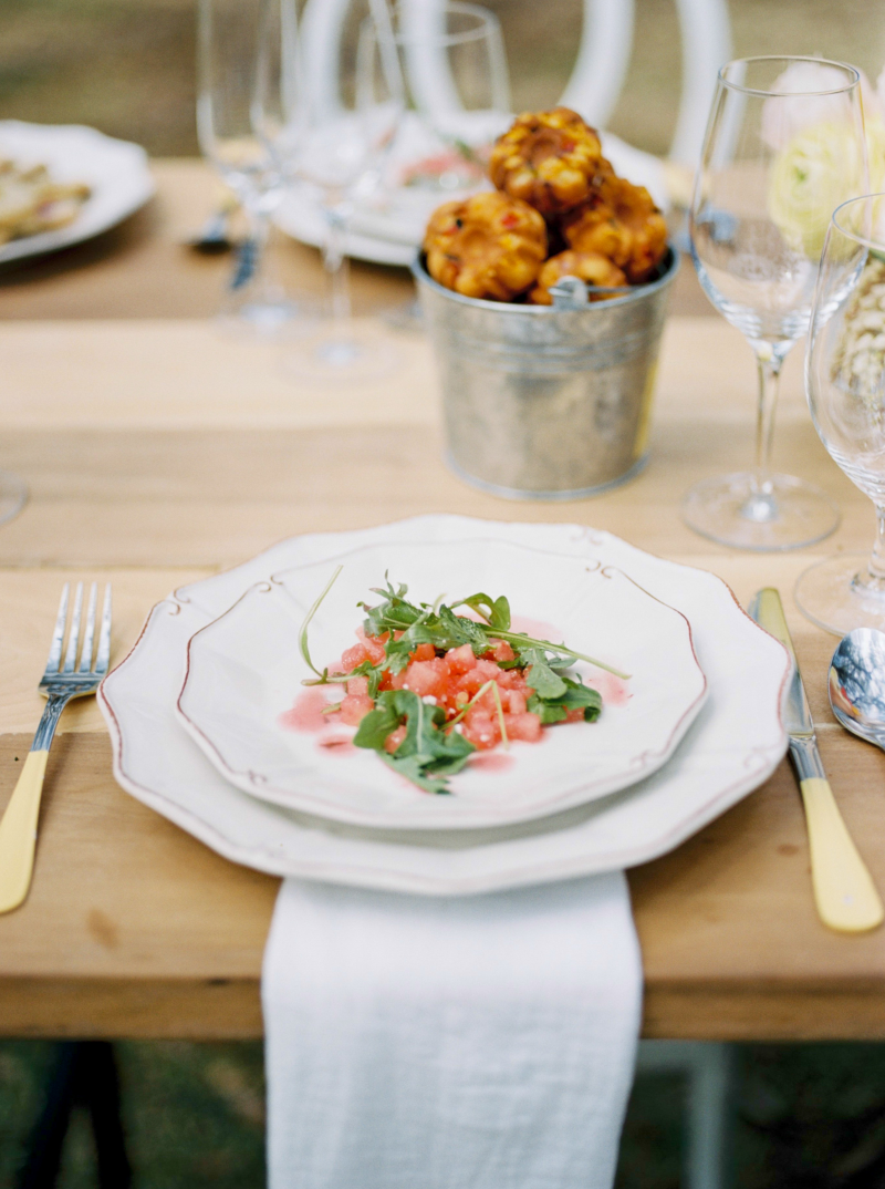 Watermelon + Feta + Arugula -- Cru Catering's masterpiece at our Charleston shoot, photographed by Amy Cherry