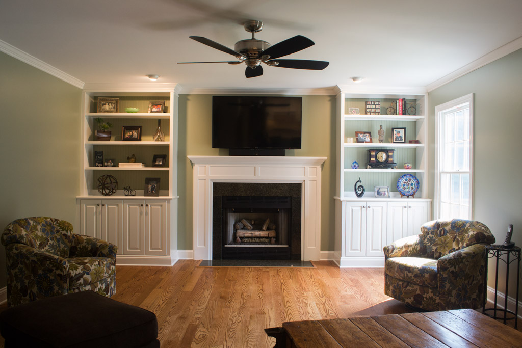 Cosgrove White Built In Bookshelves And Mantle  Sylvester Cabinetry - White bookshelves with cabinets