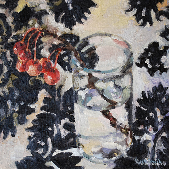 About light and water, (jelly glass with crabapple stem) , oil on canvas, framed size 7 1/4 in. x 7 1/4 in., 2010