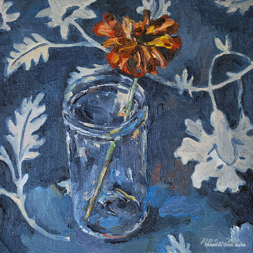 All blue,   (jelly glass with zinnia),  on canvas, 6.5 in. x 6.5 in., 2010