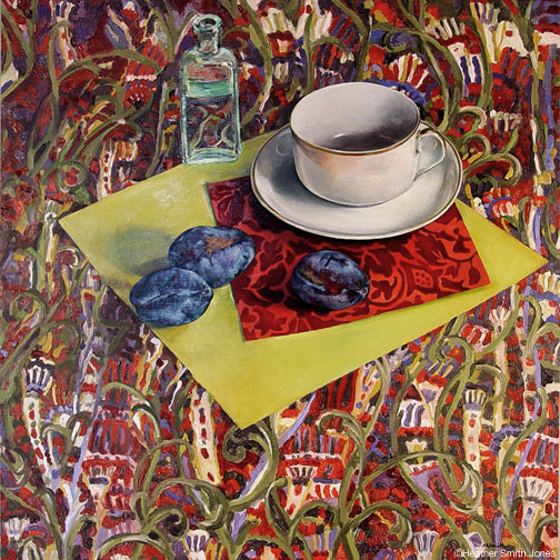 Three in one, still life with plums , oil on panel, 17.5 in. x 17.5 in., 2005